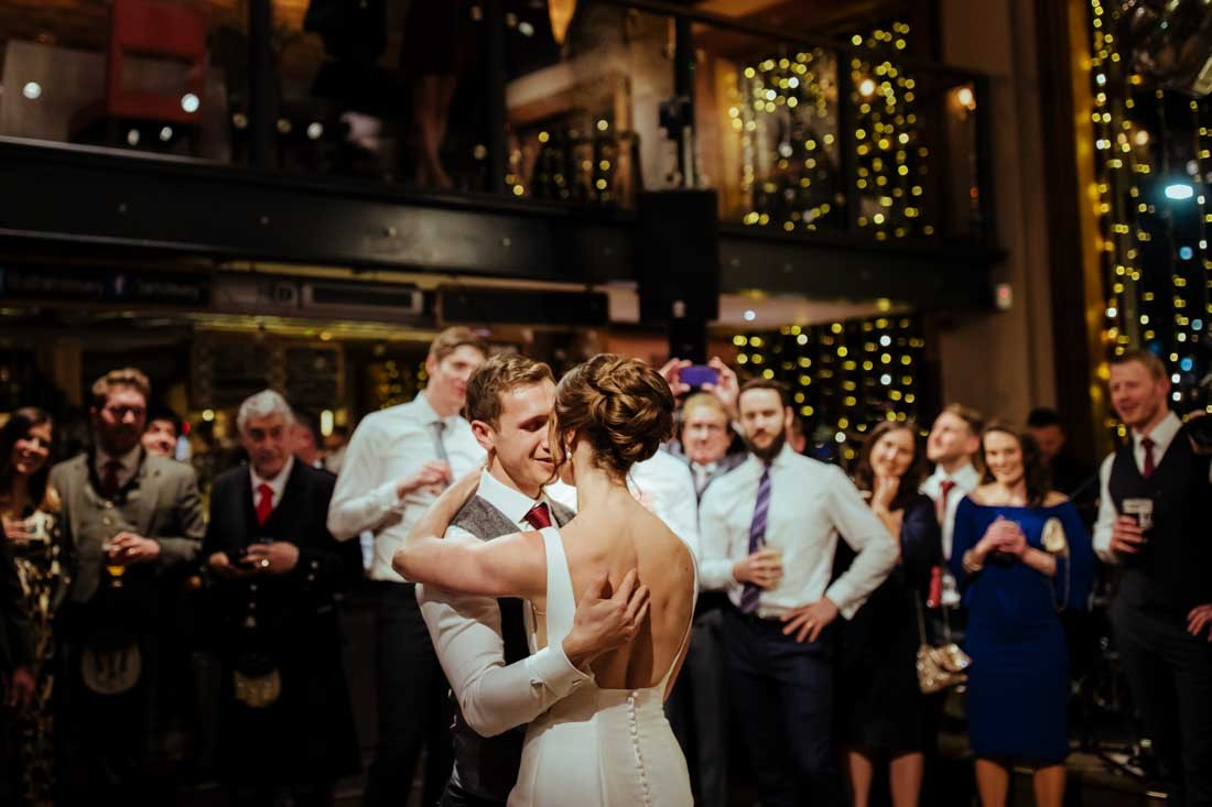 St Barts Brewery london wedding reception first dance